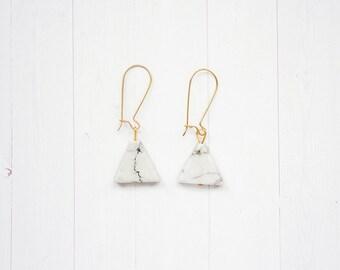 Triangle Marble White Howlite Dangle Brass Earrings
