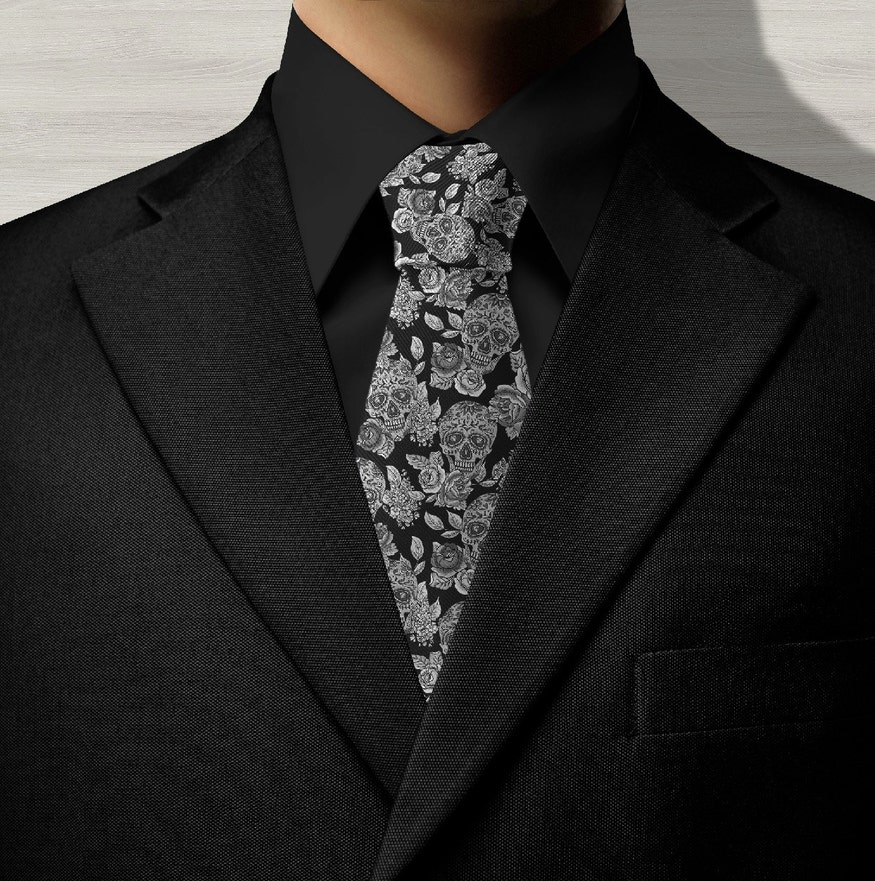 Sugar Skull Monochrome Neck Tie