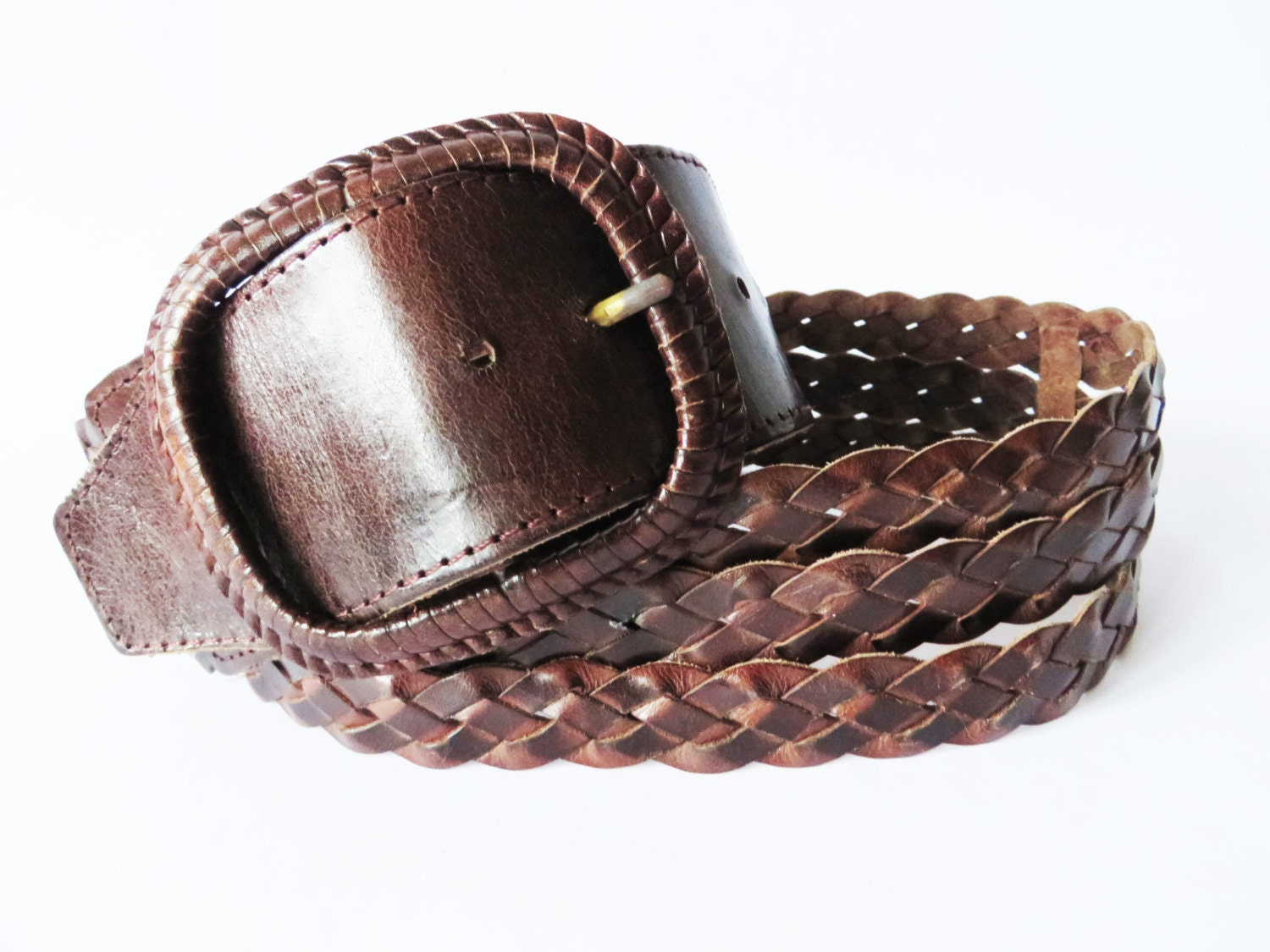 braided genuine leather belt with buckle chocolate brown wide