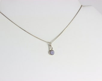 Sterling Silver Necklace with lavender gemstone in the center Necklace 14 inch chain