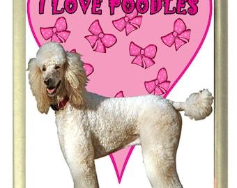I Love Poodles Dog Fridge Magnet 7cm by 4.5cm,