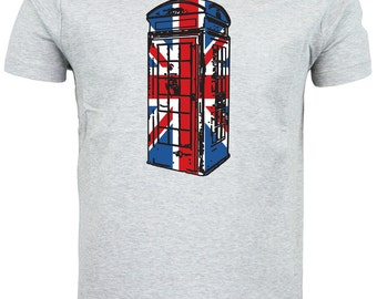 Best of British, Phonebox Union Jack Flag T shirt. classic round neck short sleeved choice of sizes and colours