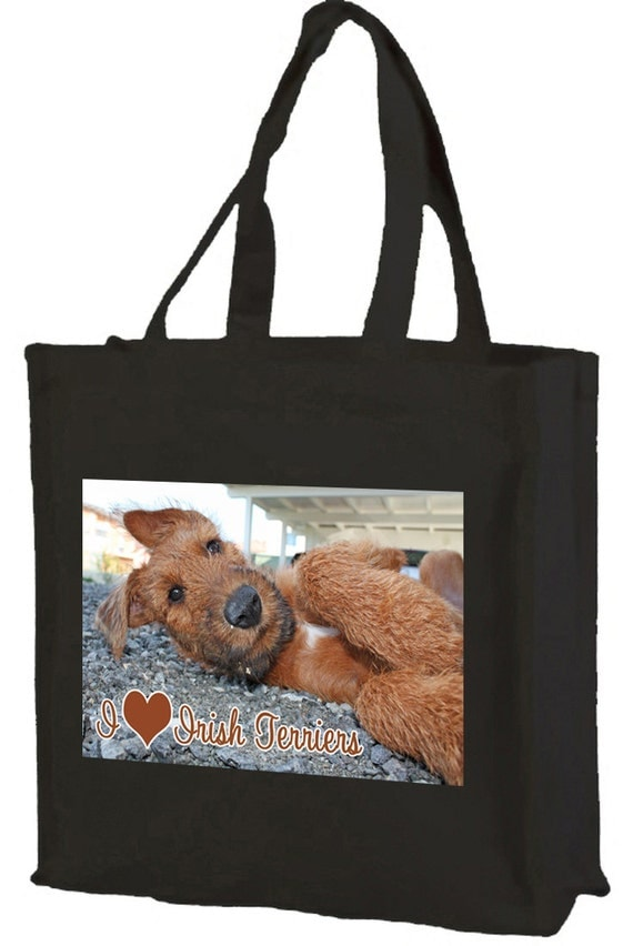 I Love Irish Terriers Cotton Shopping Bag with gusset and long handles, 3 colour options