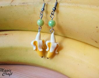 Banana Stud Earrings polymer clay