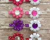 Valentines Hair Bow, Big Gem Crystal Hair Bows, Choose One, Valentines Gifts, Valentines Hair Accessory, Pink Red Purple, Choose One