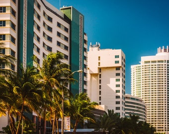 Buildings along Collins Avenue in Miami Beach, Florida - Urban Architecture Photography Fine Art Print or Wrapped Canvas