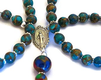 CONFIRMATION GIFT CLOISONNÉ Jasper Rosary, First Communion Gift, Baptism, Sterling Silver Rosary, Catholic Religious Gifts