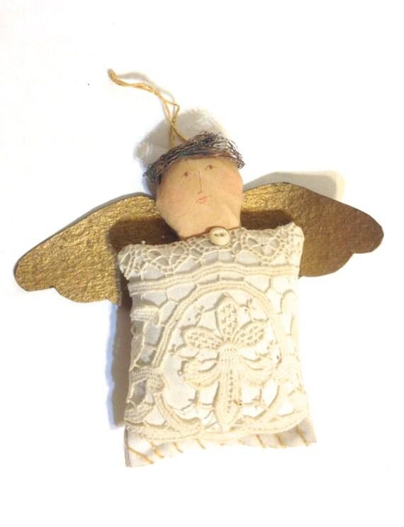 Vintage handmade christmas angel ornament old fashioned
