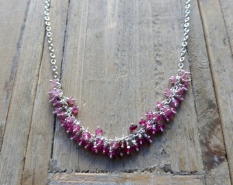 Ombre Pink Fringe Tourmaline Sterling Silver Necklace
