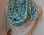 FIP05 06: Fabric Infinity Puffy Scarf (Aqua Zig Zag, Flannel) FREE SHIPPING