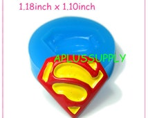 FYL192 Superman Silicone Bakery Mold 30mm - Cake Decorations Polymer Clay Sugarcraft Jewelry Mould, Cotton Candy Mold Food Safe