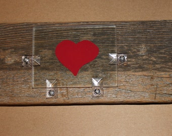 A Heart handpainted on glass on repurposed wood Wall Art - Wall Hanging