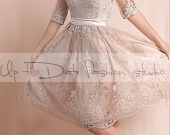 Lace  Plus Size /reception/ ekryu knee length/ wedding party  / 3/4 sleeves/ Bridal Gown