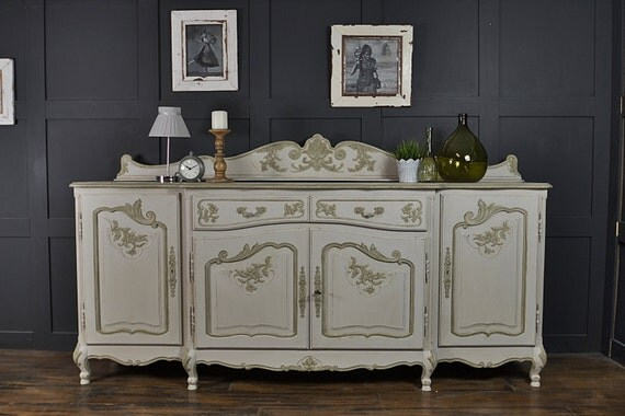 large white 4 door french shabby chic sideboard free uk. Black Bedroom Furniture Sets. Home Design Ideas