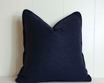 18x18 Navy Blue Wool Throw Pillow Cover