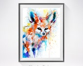 Fennec Fox watercolor painting print , animal art, animal watercolor, animals paintings, animal portrait, fox art, fox illustration,