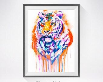 Tiger watercolor painting print, animal illustration, animal watercolor, animal painting, animal portrait,