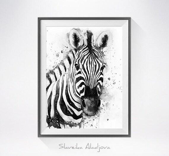 Black & White Zebra watercolor painting print Zebra art