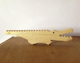 WOODEN ALLIGATOR,  solid wood gator, Gator lover, Alligator Crocodile, Child room decor