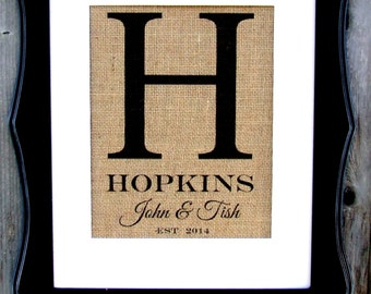 Family Initial on Burlap, any Initial, established and names personalized just for you  sign on real burlap