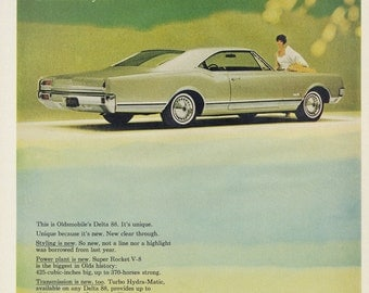 1965 Oldsmobile Delta 88 Classic Car Photo Ad Mad Men Era Vintage Automobile Advertising Green Wall Art Automotive Garage Print