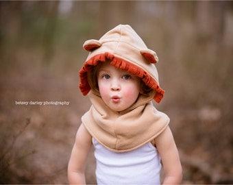 Lion Fleece Hat, Boys Costume Hat, Children Winter Scarf