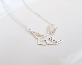 FREE US Ship Sterling Swallow Layering Necklace Bird Bridesmaid Necklace Bridesmaid Gift Sterling Bird Necklace Minimalist Bird Necklace