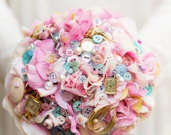 Vintage tea party flower and button bouquet