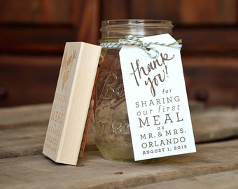 Thank You! for Sharing Our First Meal as Mr. and Mrs. Rubber Stamp with Date