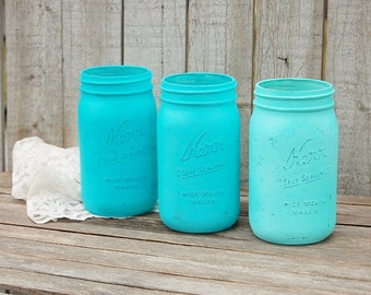 Beach Mason Jars, Shabby Chic, Aqua, Turquoise, Painted Mason Jars, Distressed, Beach Decor, Hand Painted, Pint