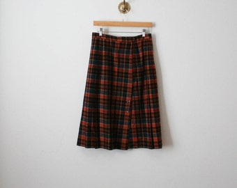 vintage wool orange hue plaid skirt