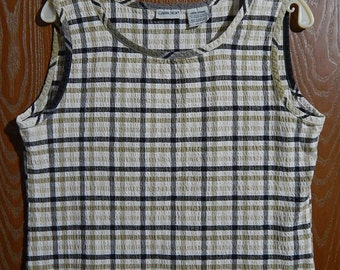 Cabin Creek Womens Large Black White + Beige Plaid Tank Top/Sleeveless Blouse