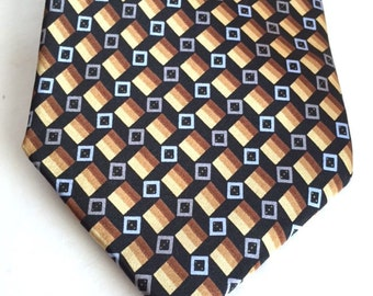 Haggar Black Brown Gold 100% Silk Geometric Abstract Tie, Free US Shipping