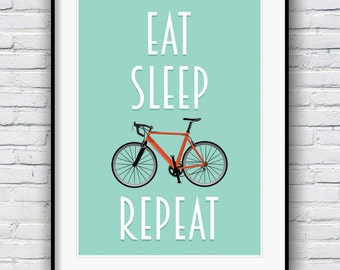 Bicycle poster, Bike print, cycling poster, Bicycle art, Quote poster, Bike art print, Motivational poster, Cycling Gift