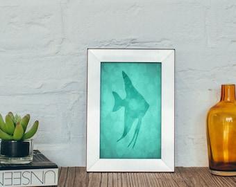 Angelfish Print, Nautical Decor, Angelfish Art, Sea Life Art, Wall Art, Art Print, Ocean Gifts, Beach House Decor, 4 x 6, 5 x 7