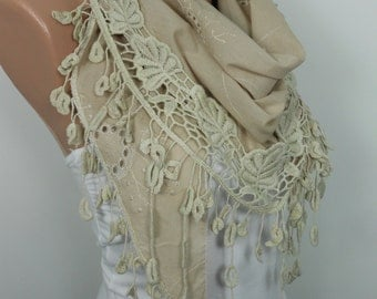 VALENTINES Day Gift Scarf SPRING Summer Beige Scarf Cotton Scarf Cowl Scarf with Lace Edge Christmas Mothers Day Gift Ideas For Her Women Ho