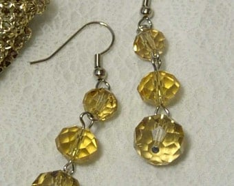 "Cynthia Lynn ""DATE NIGHT"" Silver Graduated Faux Golden Topaz Glass Crystal Dangle Earrings 2"""