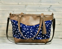 Womens Large Brown Recycled Leather Weekend Bag Shopping Tote Ladies Shoulder Cross Body Handbag Nappy Diaper Bag Navy Blue Swallow Bird