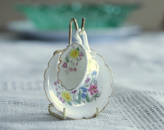 """Miniature coffee cup and saucer with flowers """"I Like You"""" , vintage doll set - show your love gift"""