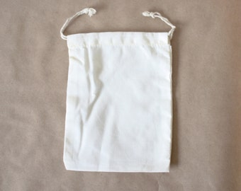 5 x 7 -- Set of 10 Plain Cotton Muslin Drawstring Bag for DIY Crafts, projects