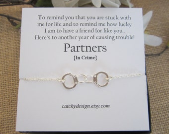 Perfect Partners In Crime Necklace Handcuff Necklace,Christmas Gifts,gift For Best  Friend, Ideas