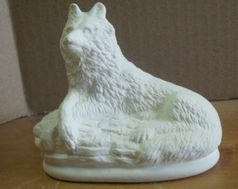 Ceramic WOLF laying miniature ready to paint ceramic bisque wolf  fugurine