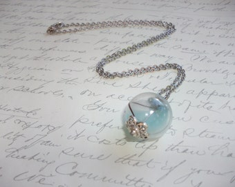 Blue bubble glass necklace