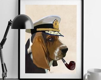 Sea Dog Basset Hound  Art Poster Original Illustration Mixed Media Digital Print Dog Print Dog painting wall decor wall art