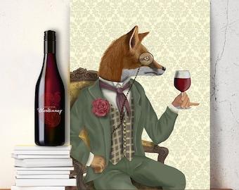 Gift for wine lover - Fox Wine Tasting, Portrait - wine gift wine décor wine humor wine wall art home decor wall decor fox picture fox love