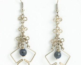 Handmade german silver earring with a Lapislazuli
