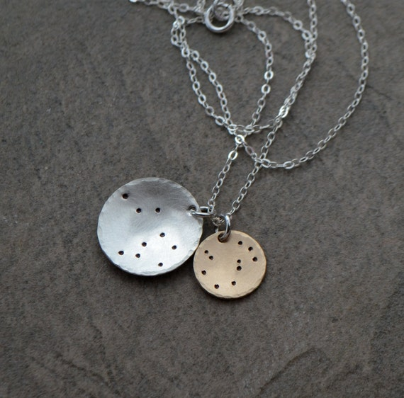 Taurus Constellation Necklace: Two Disc Constellation Necklace Taurus Sagittarius Leo