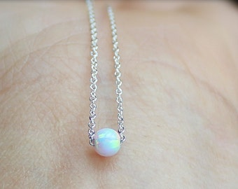 simple opal necklace etsy