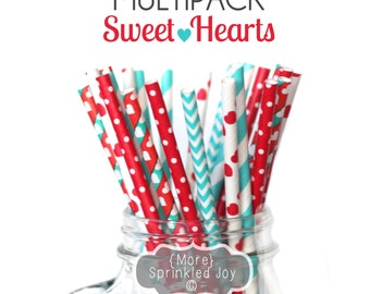 SWEET HEARTS Multipack, Teal, Red, Stripes, Polka Dot, Hearts, 25 Straws, Valentines, Love, Valentines Day, Party, Birthday, Wedding