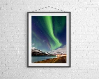 Fine Art photography Print - Travel, Landscape, Nature, Fjords, Aurora - Iceland